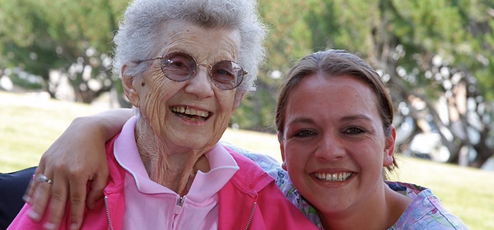 Happy senior and caretaker at our Prineville senior livingour Prineville senior livingchoco Care Center