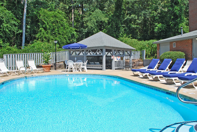 Swimming pool at Franklin Woods apartments in Chapel Hill, NC.