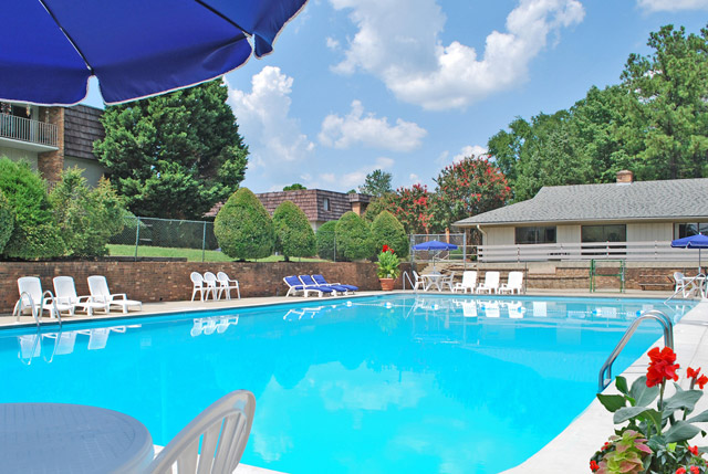 Pool at PineGate apartments in Chapel Hill, NC.