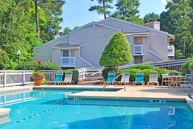 Swimming pool at Bryn Athyn at Six Forks apartments in Raleigh