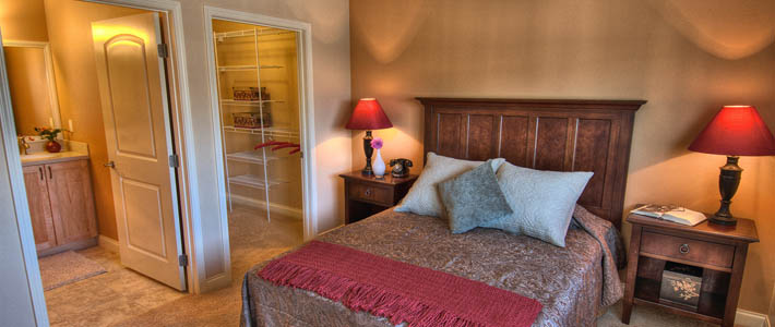 Master bedroom at Chateau at Bothell Landing Independent Living