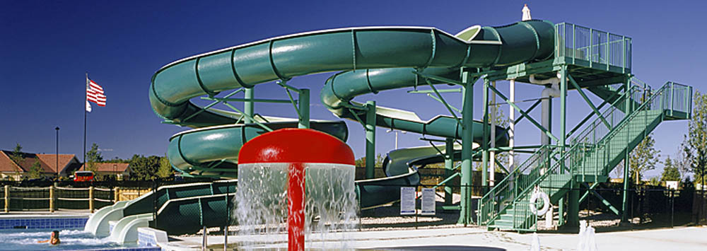 Splash around in the swimming pool with water slide at lots for sale in Oregon, WI