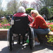 Senior enjoying a sunny day with her hospice nurse in North Houston.