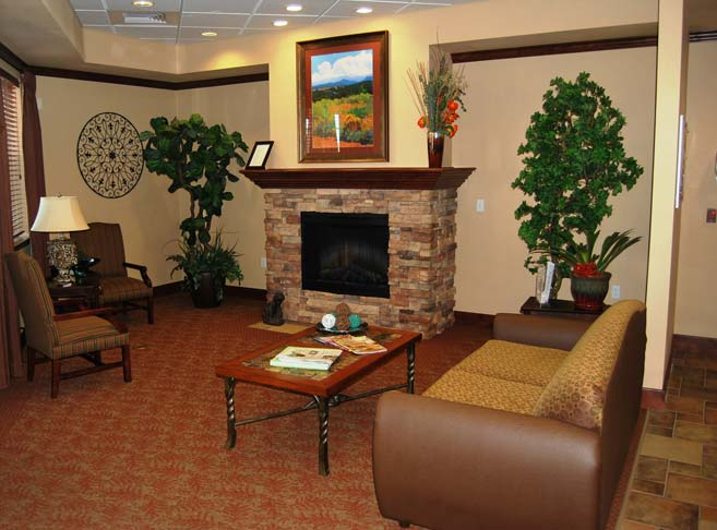 Canyon Valley Memory Care features a fireside sitting area