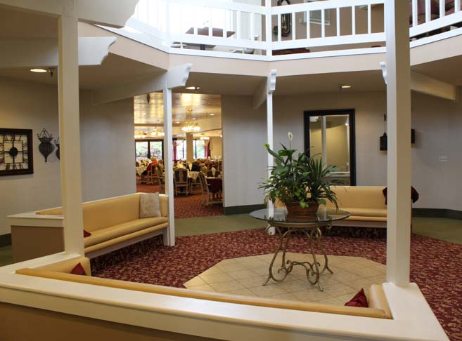 Stylish lobby at our retirement community in Boise, ID 83705