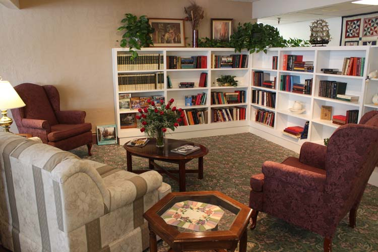 Library sitting area at our retirement community in Boise, ID 83705