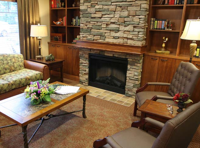 Washington Gardens features a stately fireplace sitting area