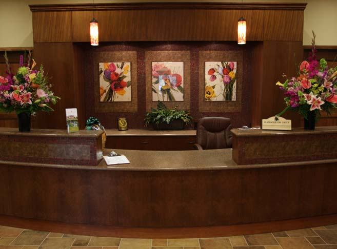 Stylish front desk at our Tigard senior living