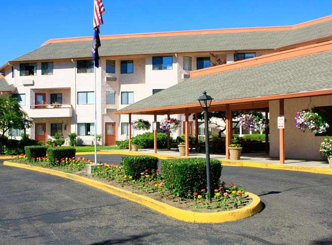 Cheery exterior at our Medford senior living
