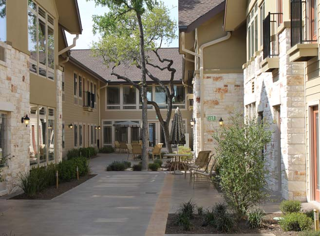 Intimate, serene courtyards at our Austin senior living