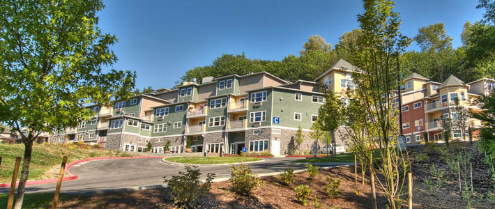 The exterior of Chateau at Bothell Landing Retirement Community