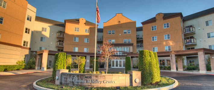 The exterior of Chateau Valley Center Retirement Community