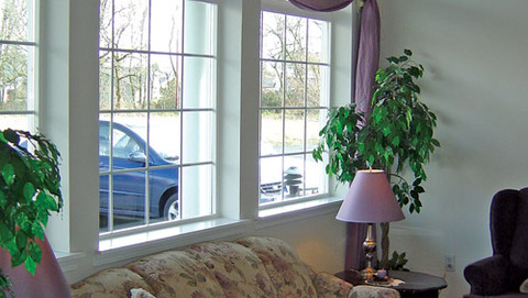 Our senior living community features a well lit living area