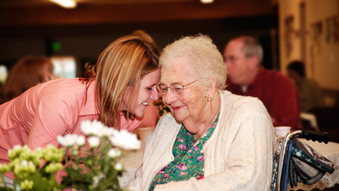 Senior with young woman featured at Lebanon senior living community