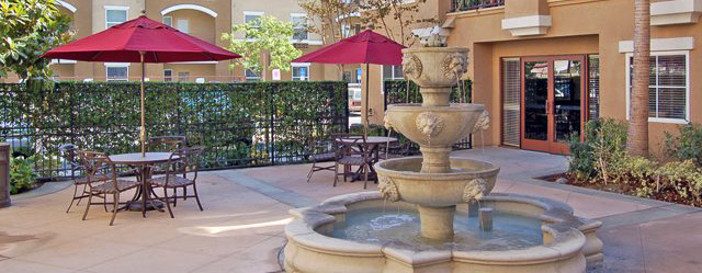 Courtyard at our senior apartments in Garden Grove, CA