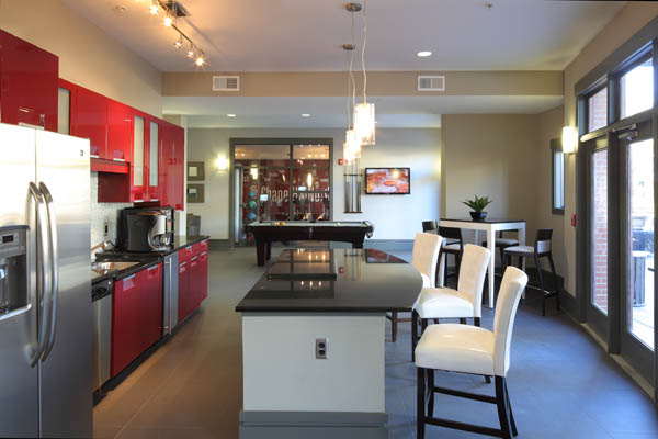 Clubhouse kitchen at apartments in Chapel Hill