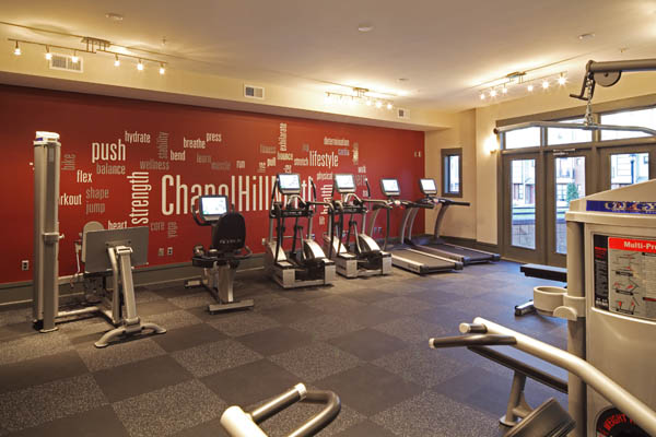 Fully-equipped fitness center at apartments in Chapel Hill