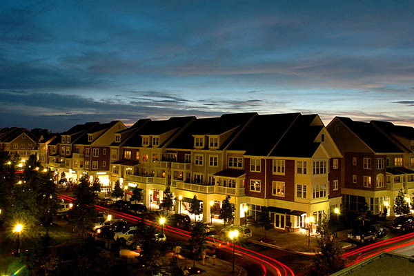 Huntersville apartment community at night