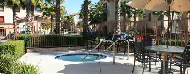 Hot tub at pomona ca senior apartments