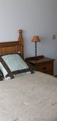 Riverwood model bedroom at apartments in Kenosha