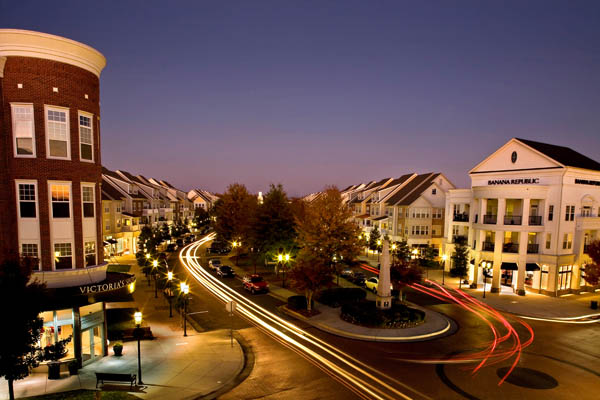 Huntersville apartments at dusk
