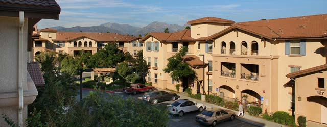 Pomona ca senior apartments with a great view of the mountains