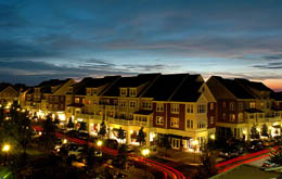 View of the community at night at apartments in Huntersville