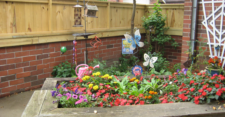 Colorful gardens at Avalon senior living community