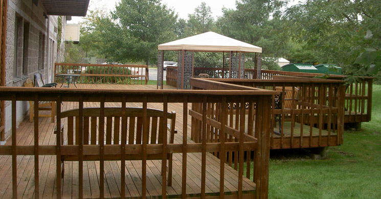Beautiful back deck at senior living community in South Bend