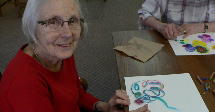 Senior coloring at Avalon senior living community