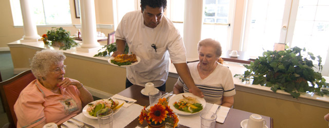 Senior meal being served at senior living community in Chico, CA
