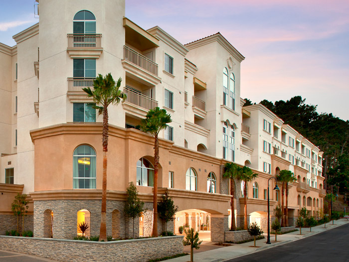 Beautiful exterior featured at senior living community in Daly City