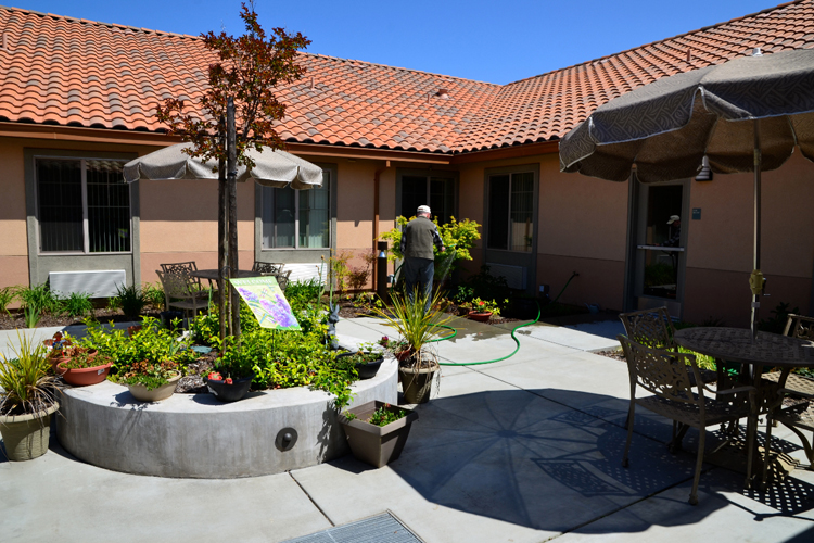 Well landscaped grounds at senior living community
