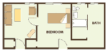 The flooplan for One-Bedroom Deluxe
