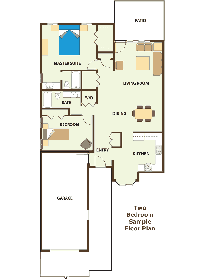 The flooplan for Two-Bedroom