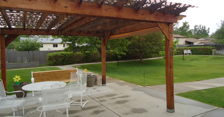 Beautiful patio featured at Greeley senior living community