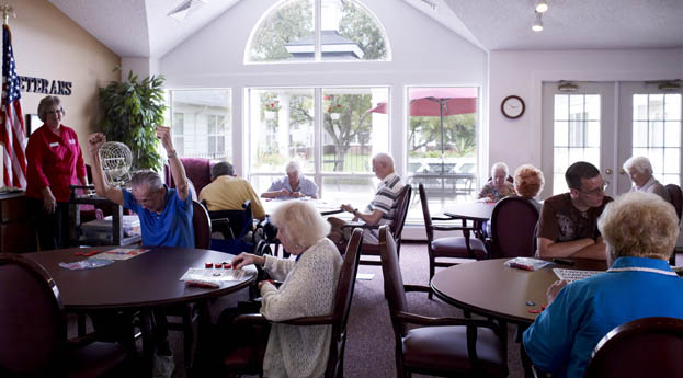 Residents enjoy bingo at Elmwood Senior Living in Rochester Hills