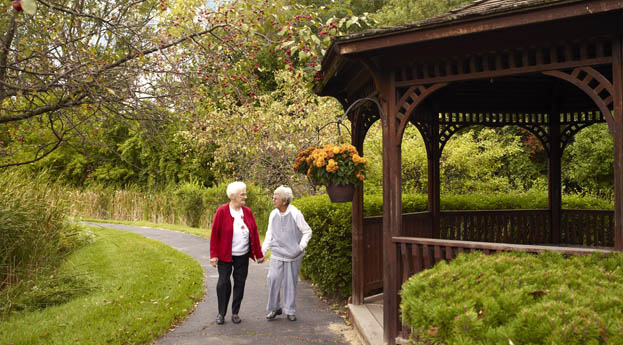 Enjoy the outdoors in the gazebo at senior living in Pontiac