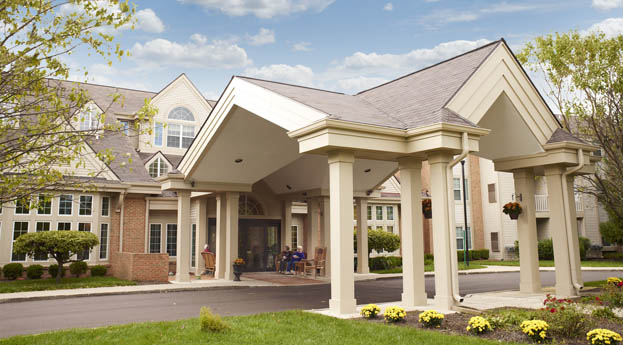 Come home to the sunny exterior of senior living in Pontiac