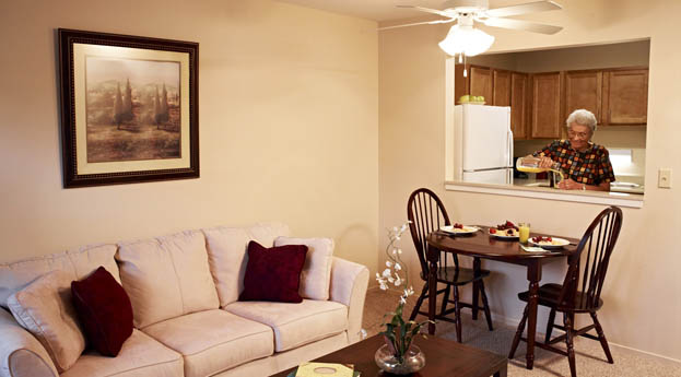 The apartments at senior living in Hazel Park are spacious and open