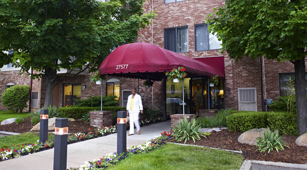 Walk in the entrance to senior living in Southfield