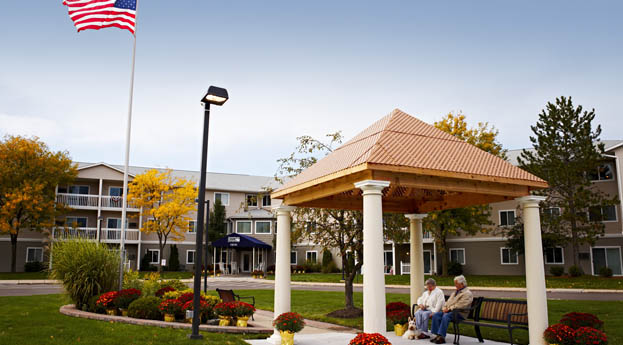 Take in the outdoors in the gazebo at senior living in Clinton Township