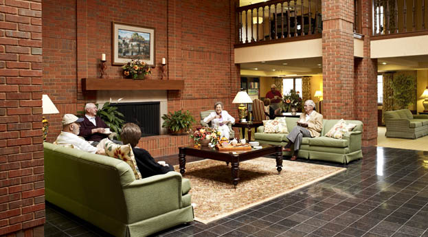 Join friends in the brick lobby at senior living in Roseville
