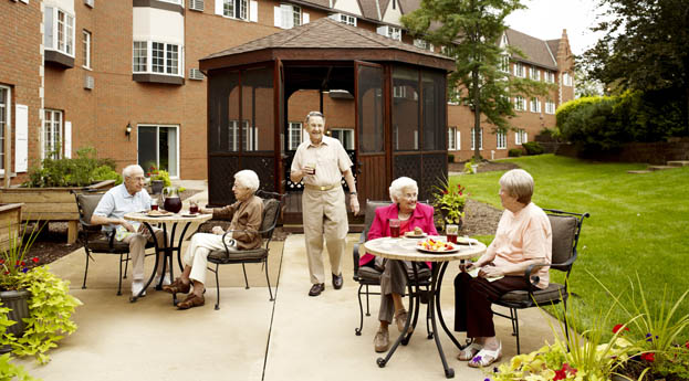 Relax with friends on the patio at senior living in Roseville