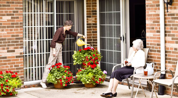 Enjoy the outdoors on your own patio at senior living in Livonia