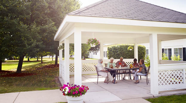 Relax outdoor in the gazebo at senior living in Dearborn Heights