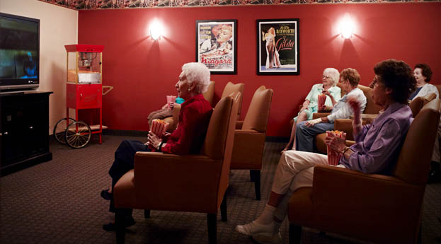Senior living in Riverview has a theater for residents to enjoy.