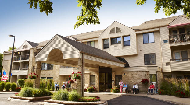 Ypsilanti senior living has a sunny, welcoming building exterior