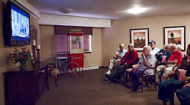 Grand Blanc Senior Living has a movie theater for residents