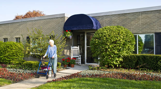 The exterior of senior living in Royal Oak is warm and inviting